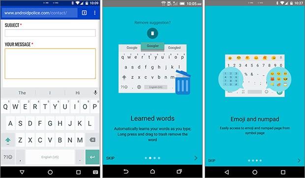 Screenshot per la nuova versione 5.0 dell'app Tastiera Google su smartphone Android