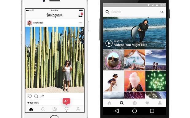 La nuova interfaccia di Instagram su dispositivi mobile, con gli elementi neri