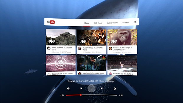 L'interfaccia di YouTube VR