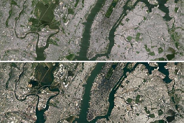L'area di New York City, nell'immagine prima (sopra) e dopo l'aggiornamento del database (sotto)