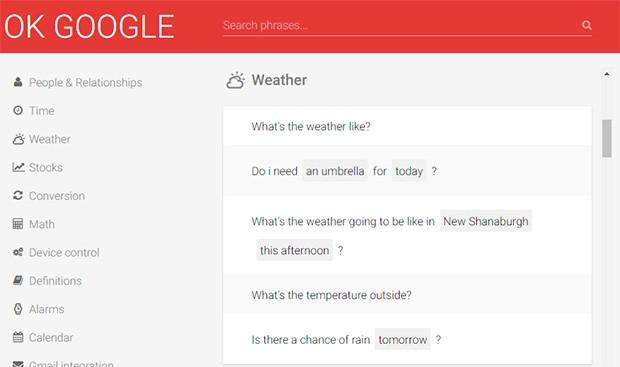 """Alcuni dei comandi vocali """"Ok Google"""" supportati dall'assistente virtuale Google Now"""