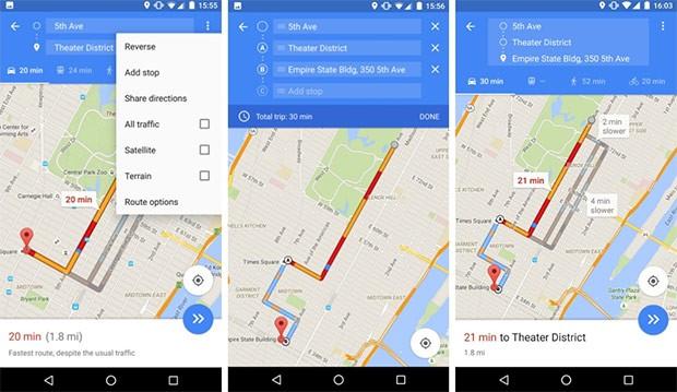 La nuova funzionalità di Google Maps, che consente di stabilire le fermate intermedie di un percorso