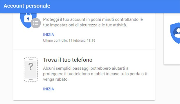 """La nuova scheda """"Trova il tuo telefono"""" nella pagina """"Account personale"""" di Google"""