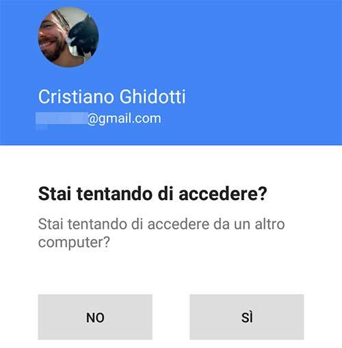 La schermata mostrata su smartphone ad ogni login al proprio account Googleda un nuovo dispositivo