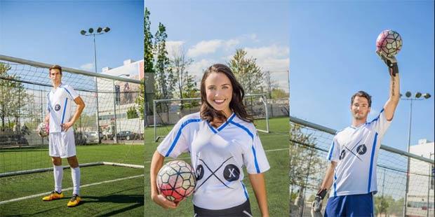 La maglietta Football Fan Shirt di Wearable Experiments per i tifosi del calcio e i tre testimonial