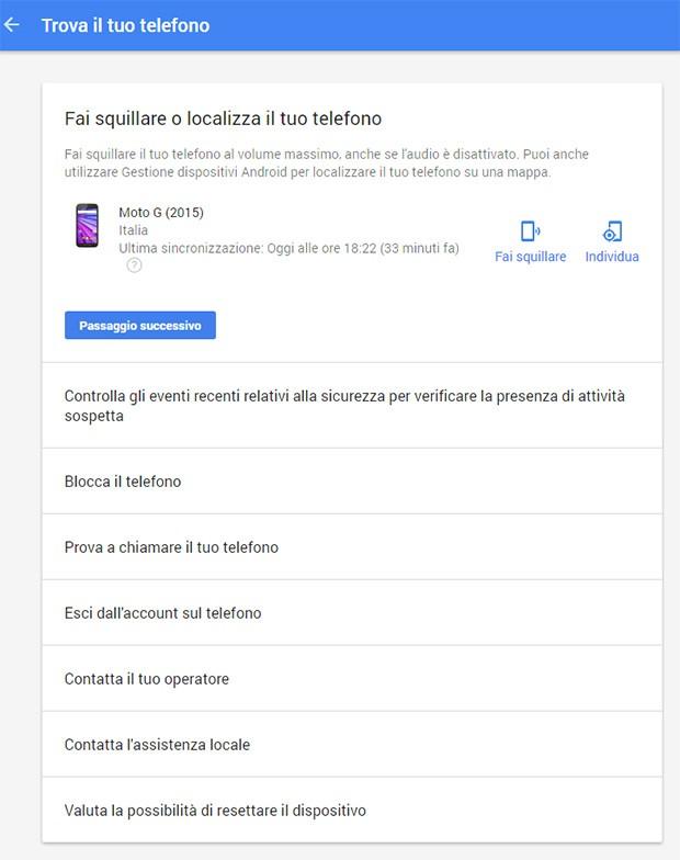"""Tutti i comandi che è possibile eseguire da remoto sui propri dispositivi, grazie alla nuova funzionalità """"Trova il tuo telefono"""" dell'account Google"""