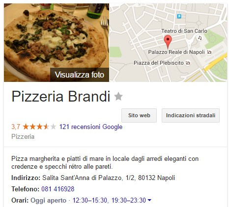 La scheda della pizzeria Brandi su Google