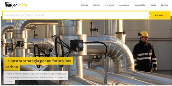 Eni.com con il motore Ask Now in grande evidenza