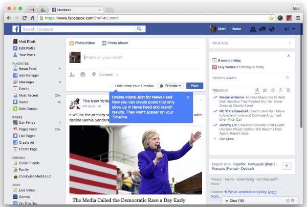 Facebook nasconde i post della timeline