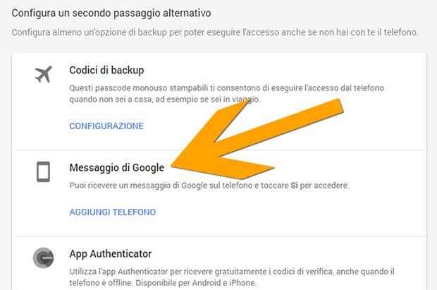 La nuova modalità di controllo Messaggio di Google per la verifica in due passaggi di bigG