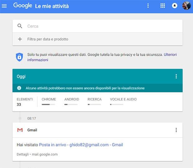 Il sito Le mie attività riassume tutte le azioni compiute dall'utente e connesse al proprio account Google