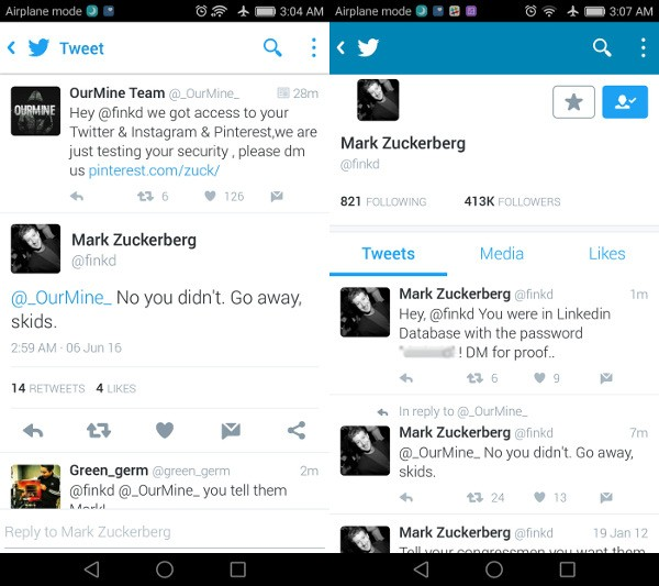 Mark Zuckerberg hackerato - Twitter