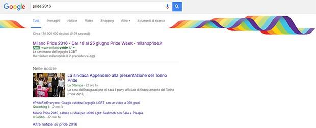 """La SERP (pagina dei risultati) di Google per la query """"pride 2016"""" si tinge di arcobaleno"""
