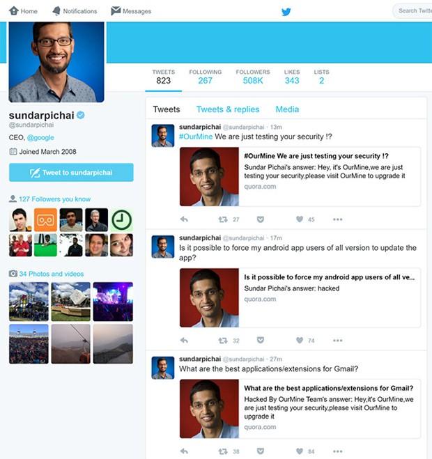 Anche l'account Twitter di Sundar Pichai, CEO di Google, è stato compromesso