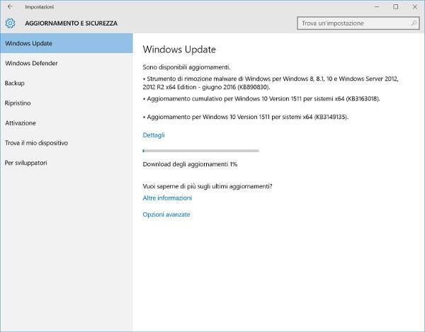 Windows 10, update cumulativo