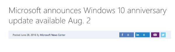 Windows 10 Anniversary Update il 2 agosto?