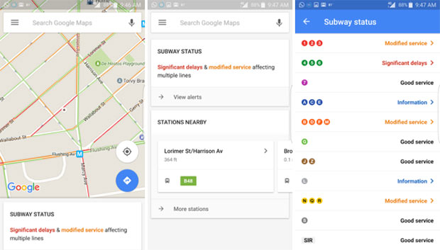 Le notifiche sui ritardi dei mezzi pubblici visualizzate dall'applicazione Google Maps