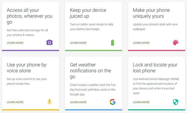 Alcuni dei consigli forniti da Google su come sfruttare al meglio le caratteristiche del sistema operativo, sulle pagine del sito Android alla sezione Tips and Tricks