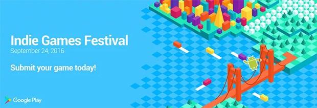 Il manifesto dell'evento Indie Games Festival organizzato da Google e che andrà in scena il 24 settembre a San Francisco