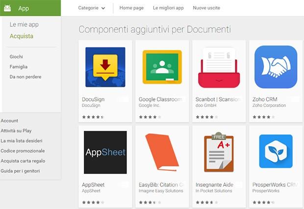 I componenti aggiuntivi per Google Documenti e Fogli disponibili sulla piattaforma Play Store