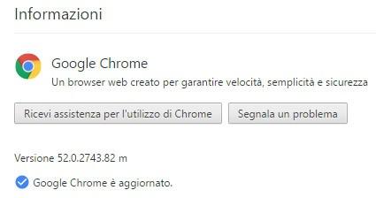 Google ha aggiornato il browser Chrome (su computer) alla versione 52.0.2743.82 m