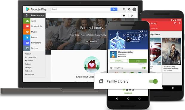 Raccolta della Famiglia permette di condividere i contenuti acquistati su Google Play tra un massimo di sei familiari