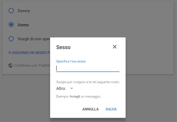 """Nelle impostazioni del proprio account, Google consente di specificare un genere personalizzato alla voce """"Sesso""""."""
