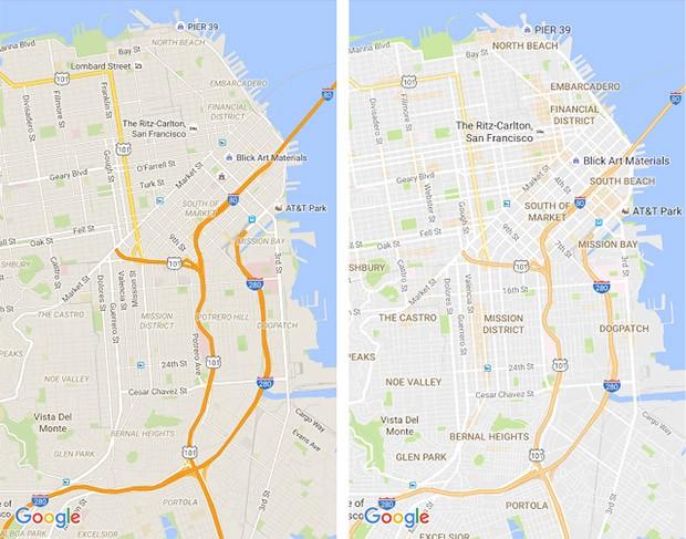 L'aspetto delle mappe di Google Maps: quello visualizzato fino ad oggi (a sinistra) e quello nuovo introdotto con l'aggiornamento dell'applicazione (a destra)
