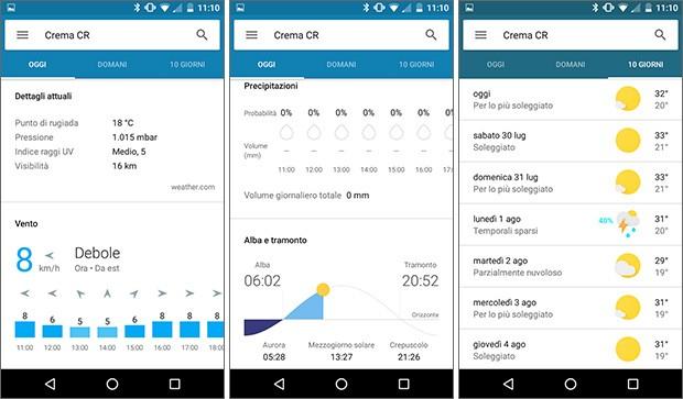 Screenshot per la nuova scheda Meteo dell'assistente Google Now, da oggi disponibile anche in Italia per tutti gli utenti Android