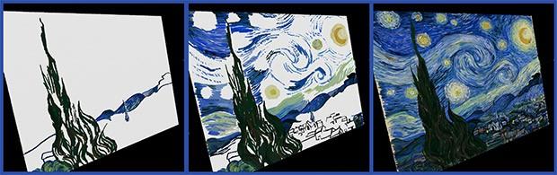"""Il dipinto """"Notte stellata"""" si Van Gogh ricreato con Project Wetbrush"""