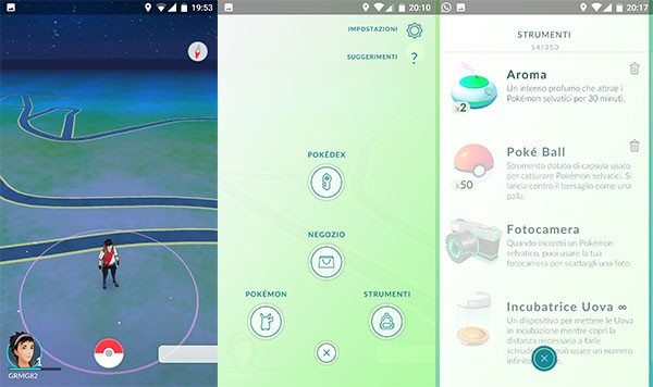 Pokemon Go, l'interfaccia