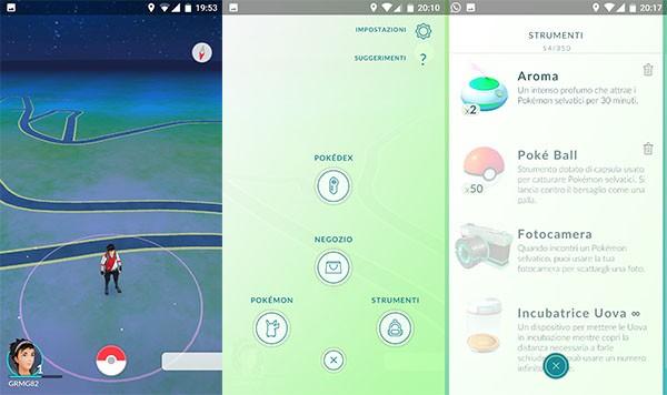 Pokemon Go, l'interfaccia