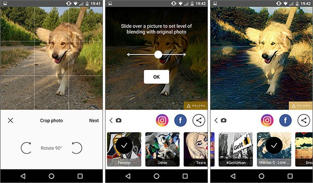 Screenshot per l'applicazione Prisma su smartphone Android