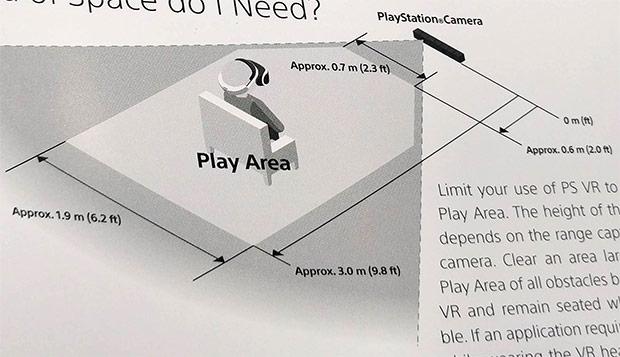Lo schema che mostra lo spazio necessario per giocare con il visore PlayStation VR di Sony in tutta sicurezza
