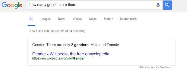 """La risposta fornita da Google alla domanda """"How many genders are there?"""", ovvero """"Quanti generi ci sono?"""" è la seguente: """"Generi. Ci sono solo due generi. Maschi e femmine"""", almeno sulla versione inglese del motore di ricerca"""