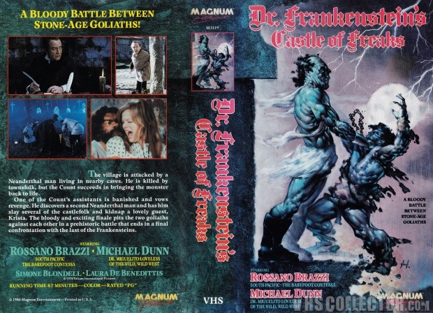 La VHS del film Frankenstein's Castle of Freaks, valutata 1.800 euro dai collezionisti