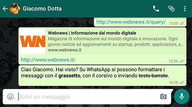 Il testo formattato nei messaggi WhatsApp: grassetto, corsivo e barrato.