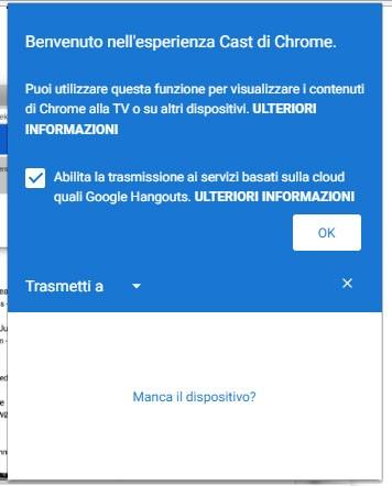 Il messaggio che avvisa gli utenti dell'integrazione di Cast nel browser Chrome