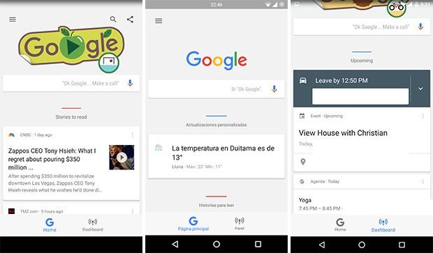 La nuova sezione Dashboard che farà il suo debutto all'interno della schermata dell'assistente Google Now