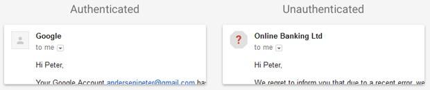 L'email ricevuta da un mittente autenticato (a sinistra) e quella inviata da un utente non autenticato (a destra)
