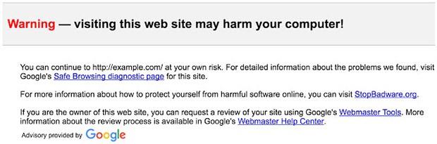 L'avviso mostrato da Gmail quando si riceve un link che punta ad un sito potenzialmente pericoloso