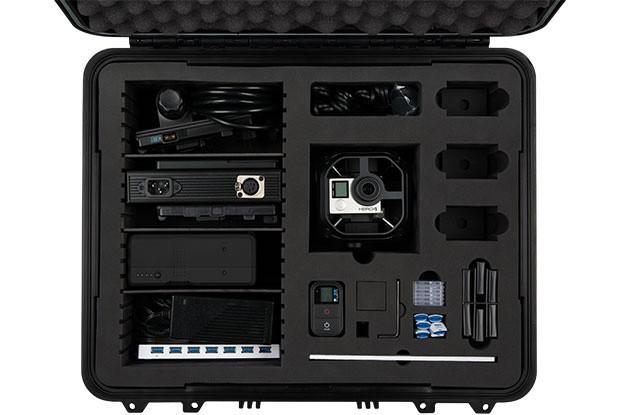 Il contenuto del kit All Inclusive di GoPro Omni, soluzione di fascia alta dedicata alla realizzazione di contenuti per la realtà virtuale