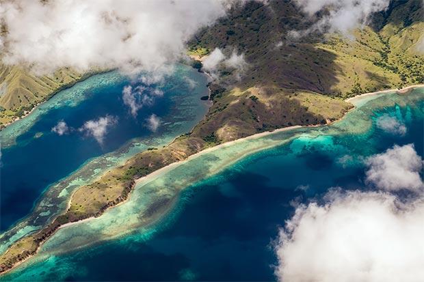 Una vista dall'alto dell'isola di Komodo
