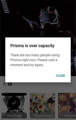 Purtroppo, i problemi di connessione ai server di Prisma non sono ancora stati del tutto risolti
