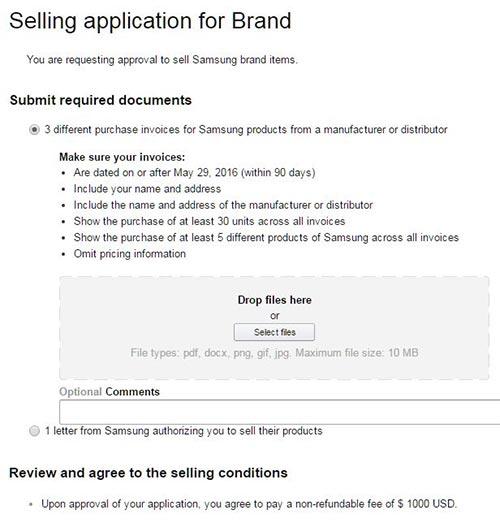 I requisiti richiesti da Amazon a un venditore per la commercializzazione di prodotti a marchio Samsung