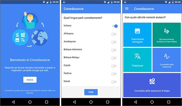Screenshot per l'applicazione Crowdsource di Google su smartphone Android