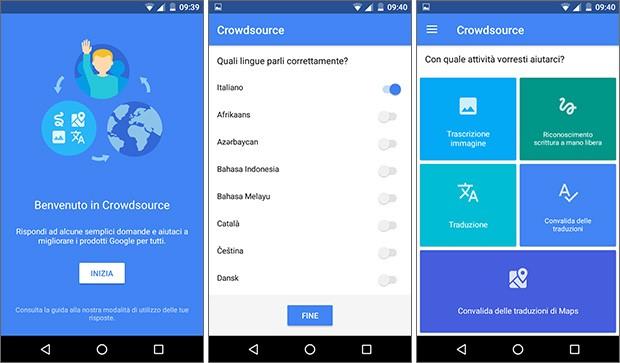 Screenshot per l'applicazione Crowdsource di Google su smartphone Android