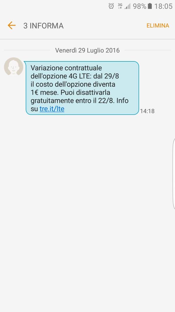 3 Italia, LTE a pagamento: SMS di avviso