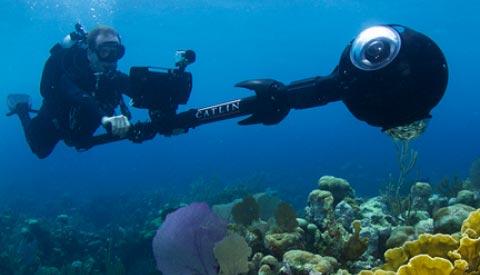 L'attrezzatura impiegata per scattare le immagini panoramiche a 360 gradi subacquee