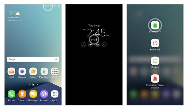 Galaxy Note 7 - icona verde batteria